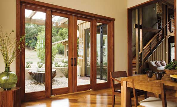 Architect series traditional sliding patio doors white trim 4 panels